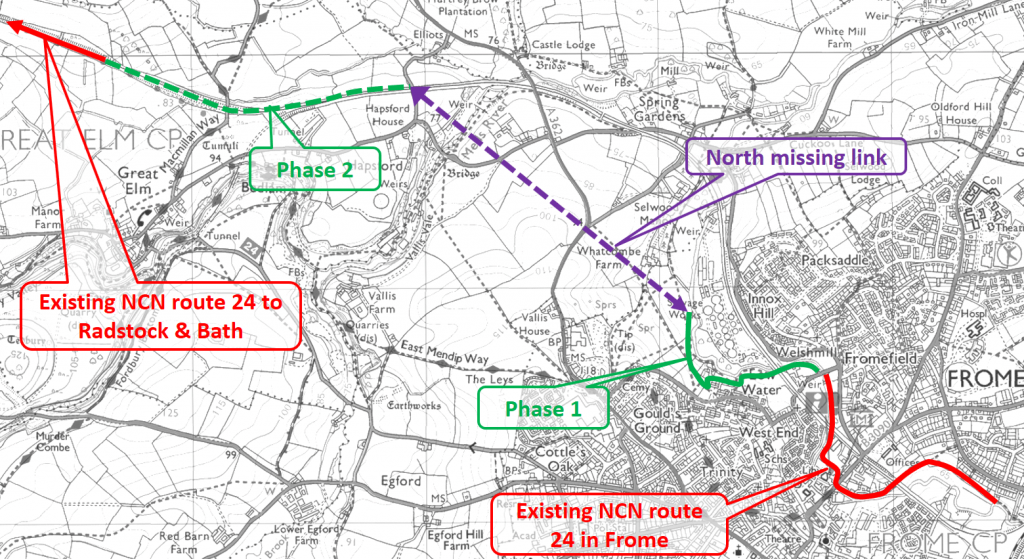 Map of phase 1 and 2 with north missing link