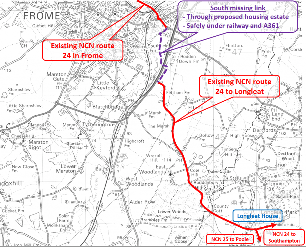 Map for south missing link in Frome